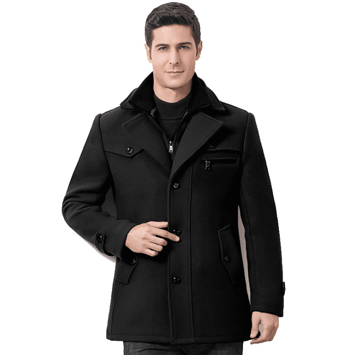 Business Casual Double Collar Thicken Warm Pure Color Wool Overcoat