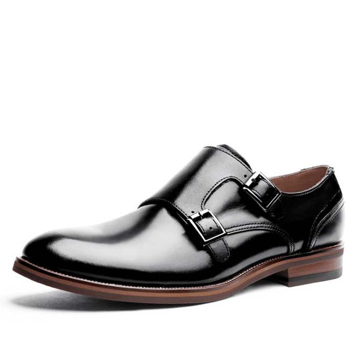 Black Pointed Toe Genuine Leather Dress Shoes