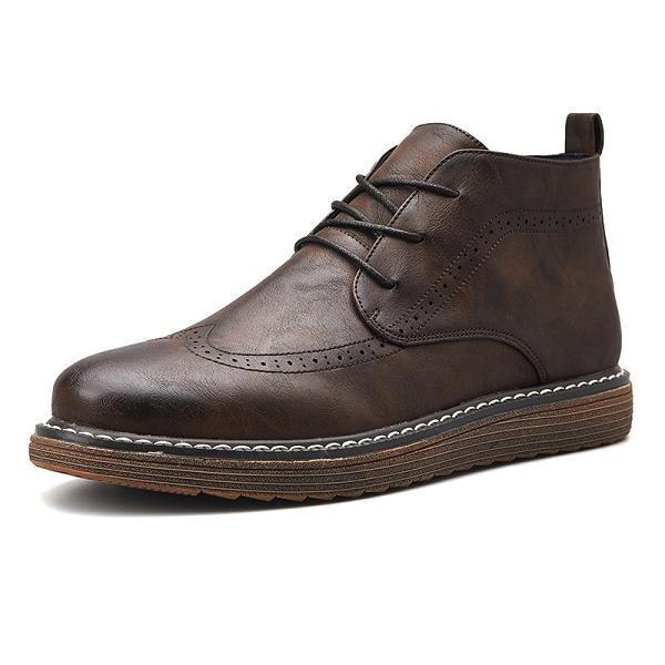 Men Retro Comfortable Brogue Style Boots
