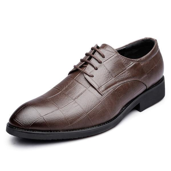 Men Genuine Leather Pointed Toe Casual Formal Dress Shoes