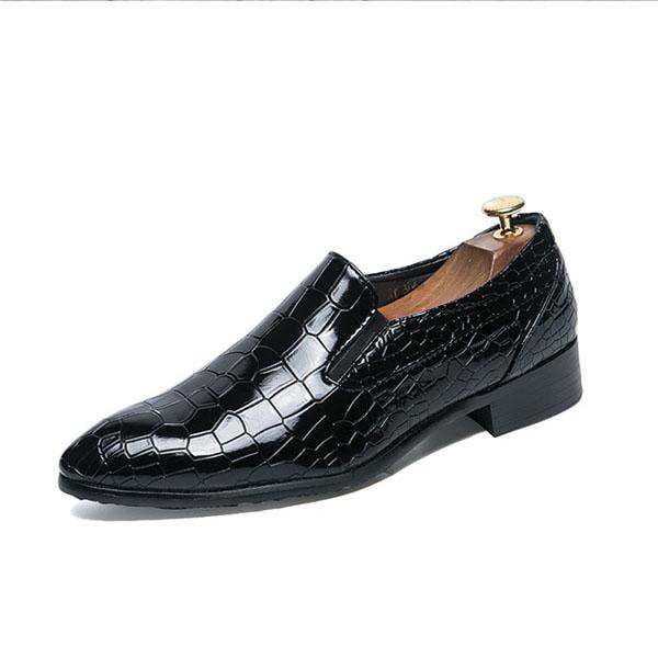 Real Leather Pointed Toe Plaid Shoes