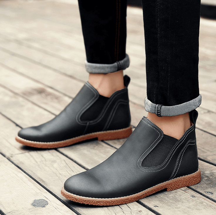 Men Retro Leather Chelsea Casual Boots