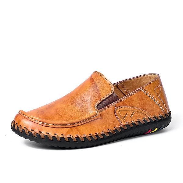 Handmade Genuine Leather Stitching Casual Shoes