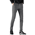 Men Cotton Business Straight Pants Casual Plaid Pants