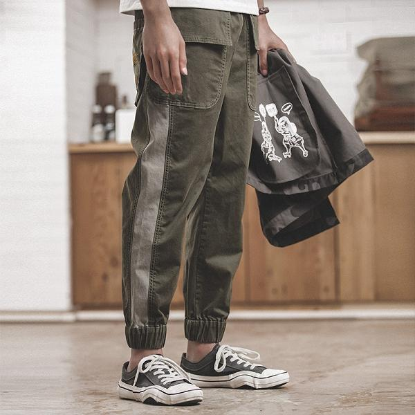Large Pocket Stitching Loose Casual Pants