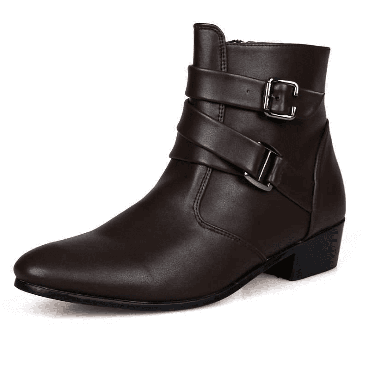 Men Genuine Leather Buckle Casual Boots