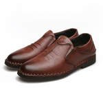 Men Genuine Leather Slip On Flat Casual Shoes