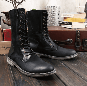 Genuine Leather High Top Boots