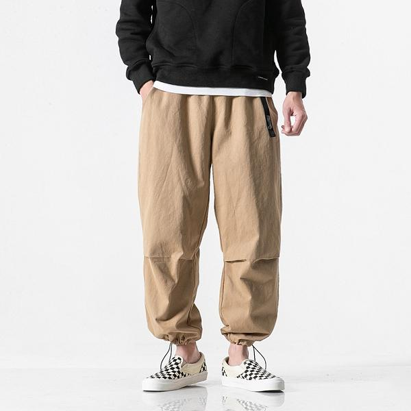 Multiple Pocket Ankle-tied Straight Pants