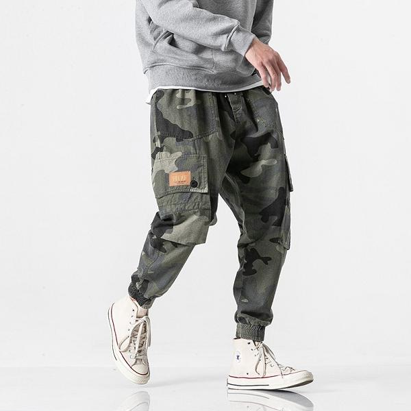Camouflage Multi-pocket Ankle-tied Pants