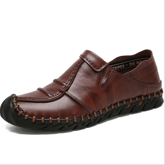 Stitching Leather Non-slip Comfy Casual Shoes