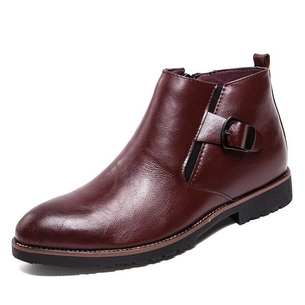 Men Buckle Zipper Formal Leather Boots