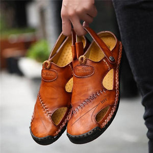 Men Hand Stitching Soft Outdoor Closed Toe Leather Sandals