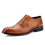 Retro Genuine Leather Lace Up Bullock Carved shoes