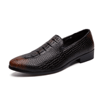 Crocodile Pattern Genuine Leather Slip On Shoes