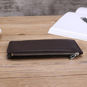 Antimagnetic Genuine Leather Business Casual 20 Card Slots 5.5 Inch Phone Pocket Long Wallet