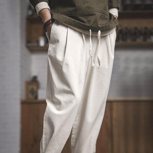 Loose Ankle-tied Pure color Casual Pants