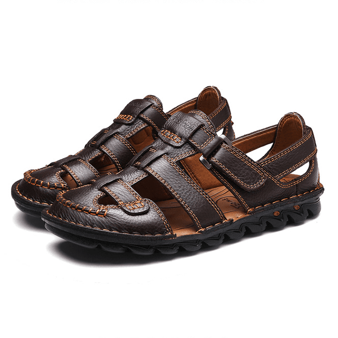 Genuine Leather Hand Stitching Hook Loop Beach Sandals