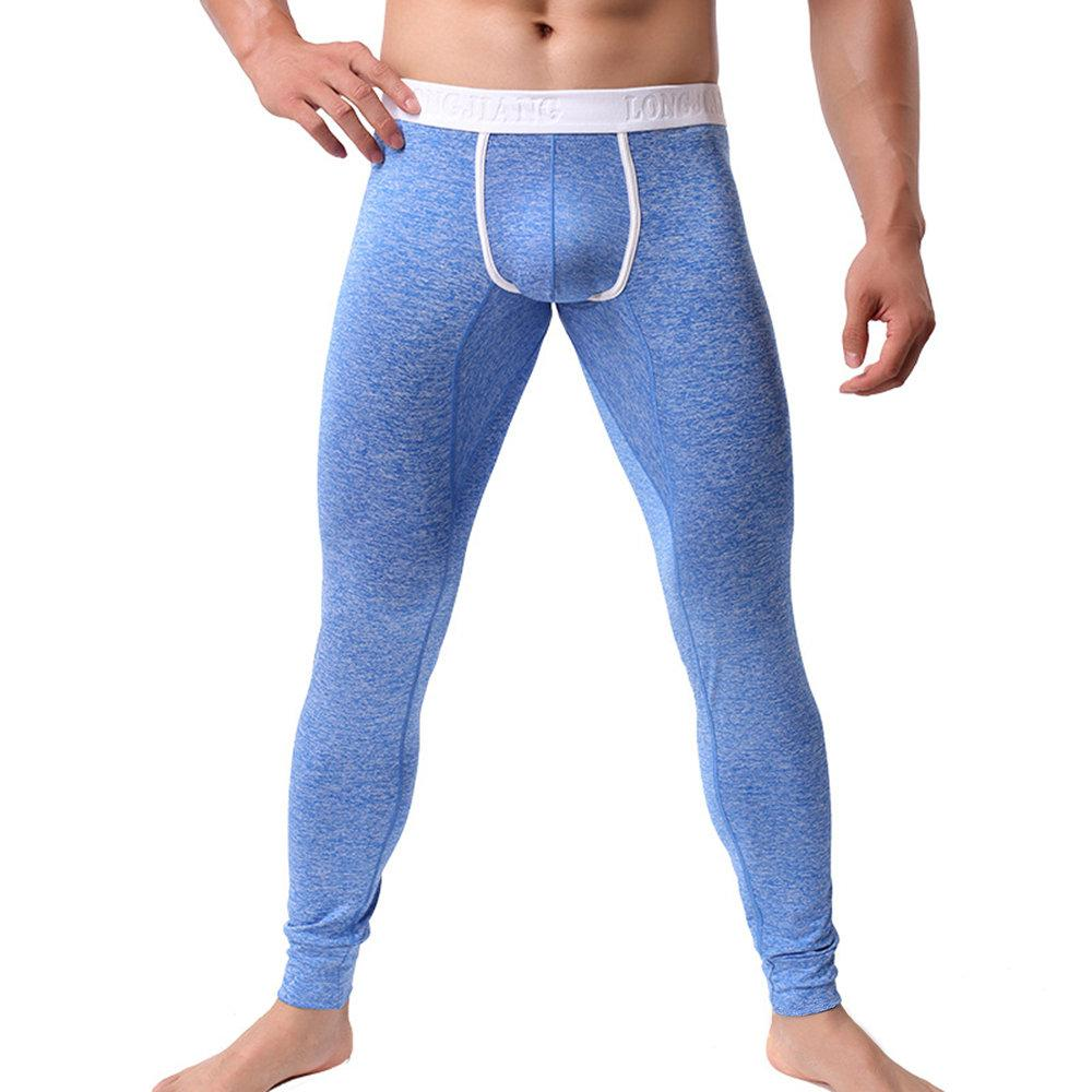 Men  High Elasticity  Fitness Slim Long Thick Sleepwear(Two-pants set)