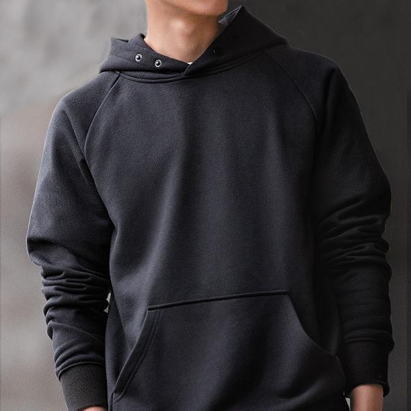 Men Pure Color Thick Casual Hoodie