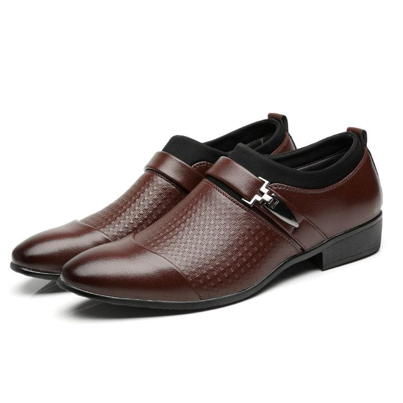 Large Size Stylish Cap Toe Slip On Business Formal Dress Shoes