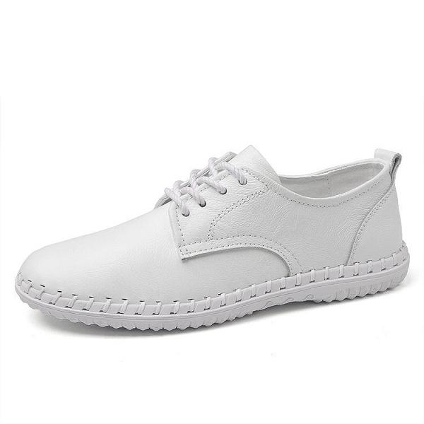 Men Leather Stitching Soft Casual Shoes