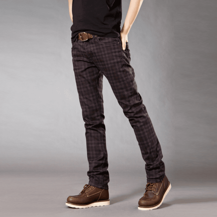 Men Slim Elastic Plaid Pants