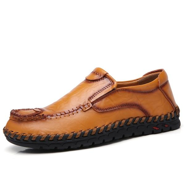 Genuine Leather  Stitching Business Casual Shoes