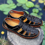 Men Soft Cow Leather Large Size Hand Stitching Hook Loop Sandals