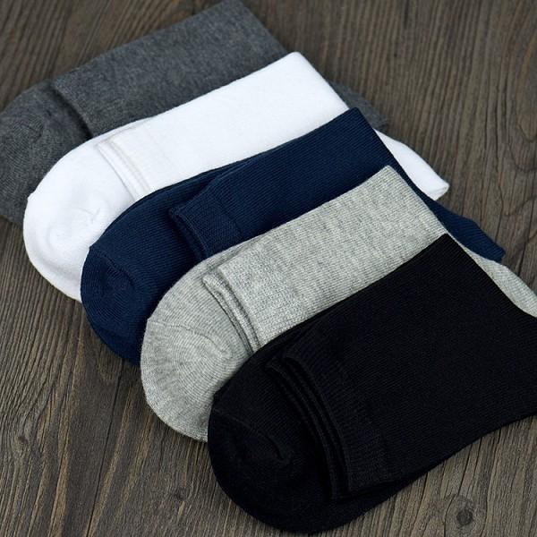 Men Solid Color Cotton Socks