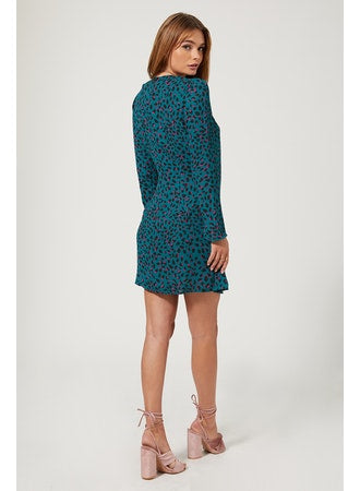 JADE teal leopard mini dress
