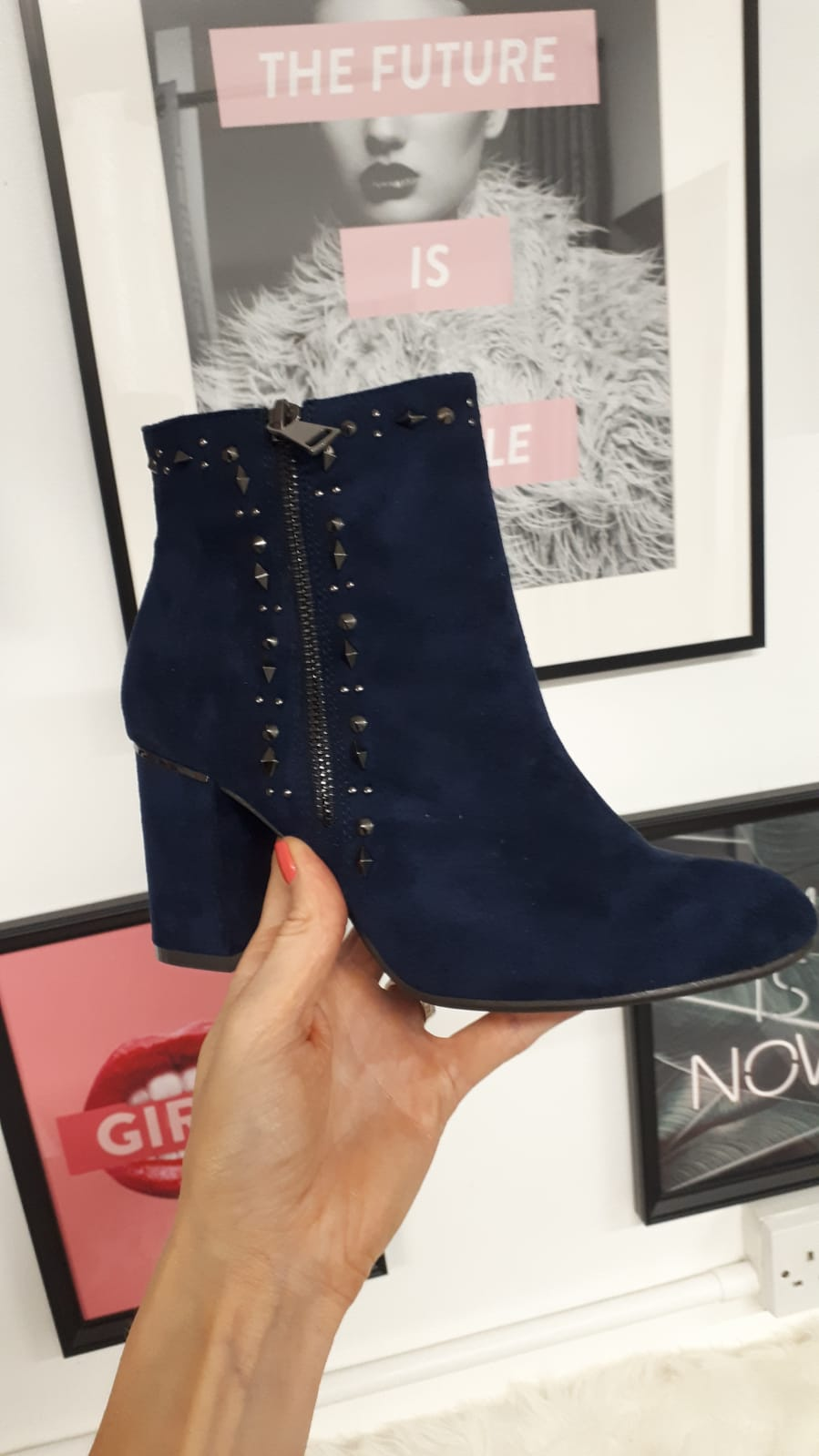 Navy faux suede ankle boots