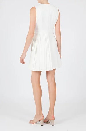 ANGELOU blazer style wrap pleated dress - white