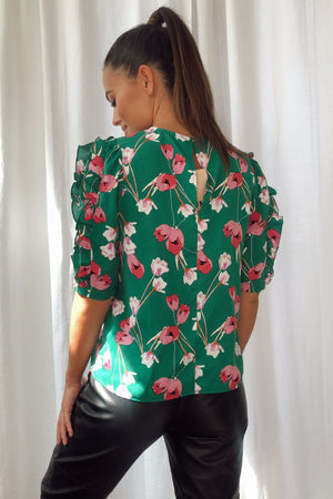Asher Frill Sleeves Top Green/Pink Print