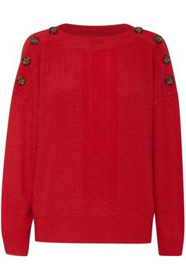 PENNY button shoulder knit - red