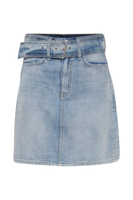 RADA R belted mid waist denim skirt - light blue