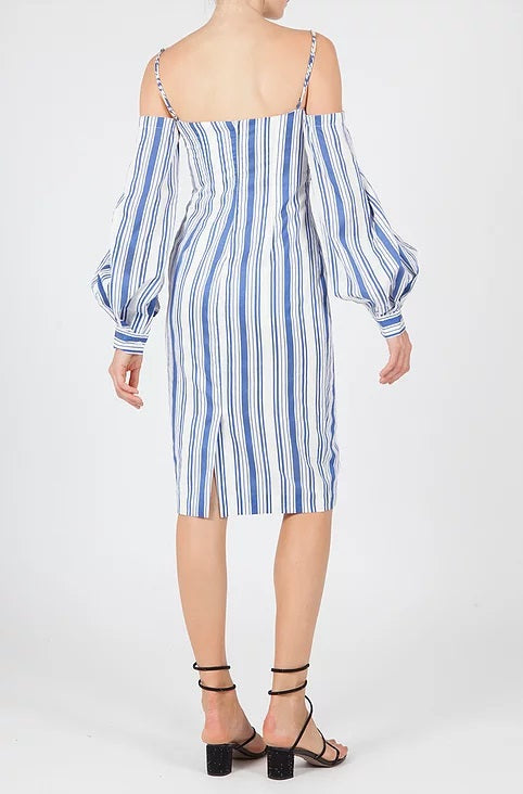 BIAGGIO off the shoulder striped dress