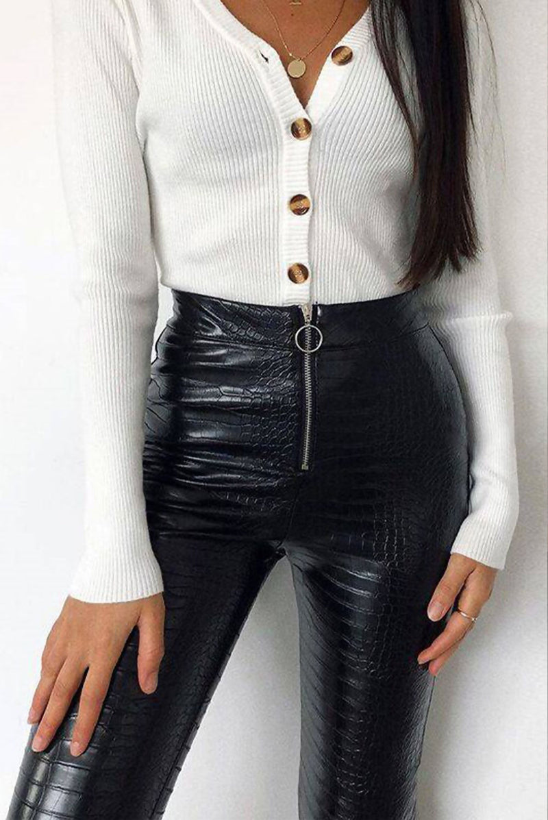 Black Croc Faux Leather O-Ring Zip Leggings