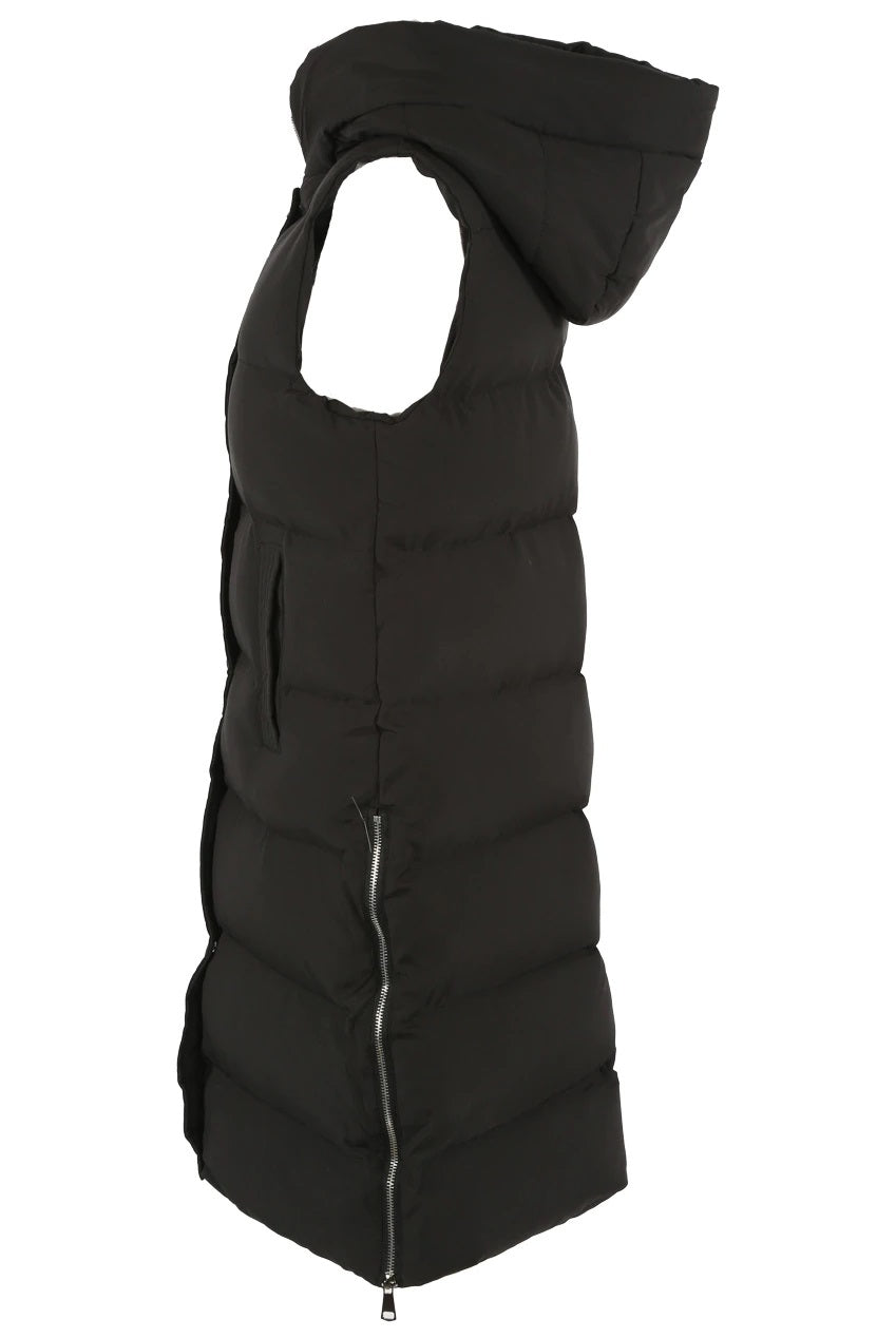 Black quilted and padded sleeveless longline puffa hooded jacket.