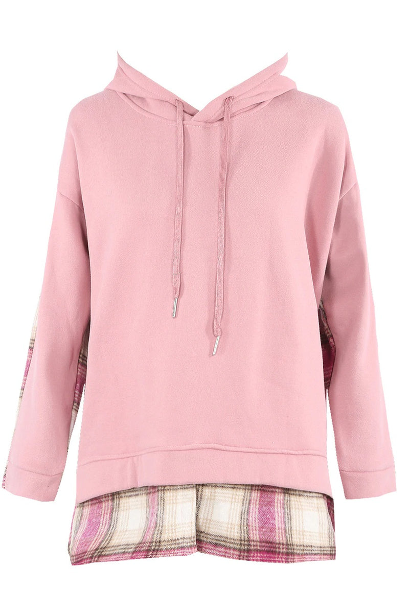 Check Under Detail Hoodie - Pink