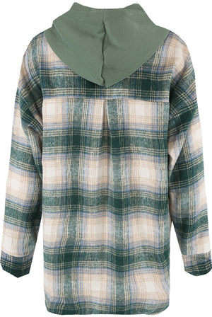 Keep it comfy in this super stylish check under detail hoodie .. Paired with your denim or leather look leggings for this chic style but still comfy look!  Contrast Tartan Print Front Knotted Hooded Long Sleeves Jumper