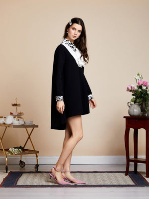 DARK DALMATIA smock high low mini dress - black and white