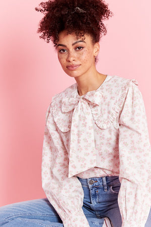 Neon Rose Eleanora Ditsy Floral Pussy Bow Blouse  featuring Oversized Frill Collar, Cuff Sleeve , Pussy Bow, and Button Front.