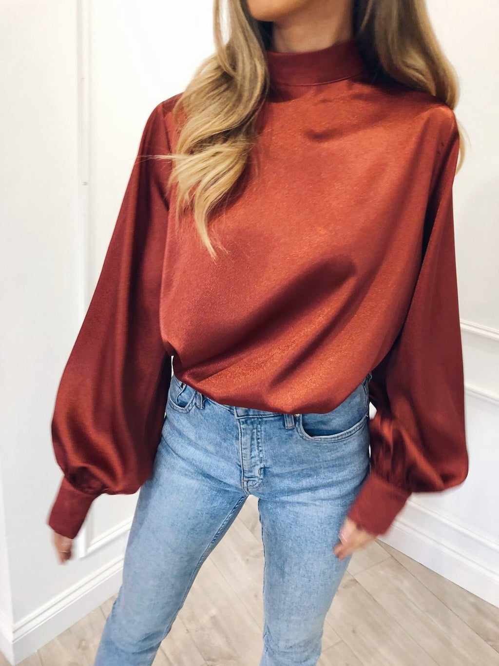 ELSIE long sleeve turtle neck blouse - rust