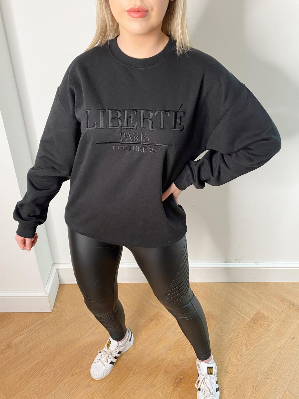 Embroidered Liberte Sweatshirt Jumper - Black