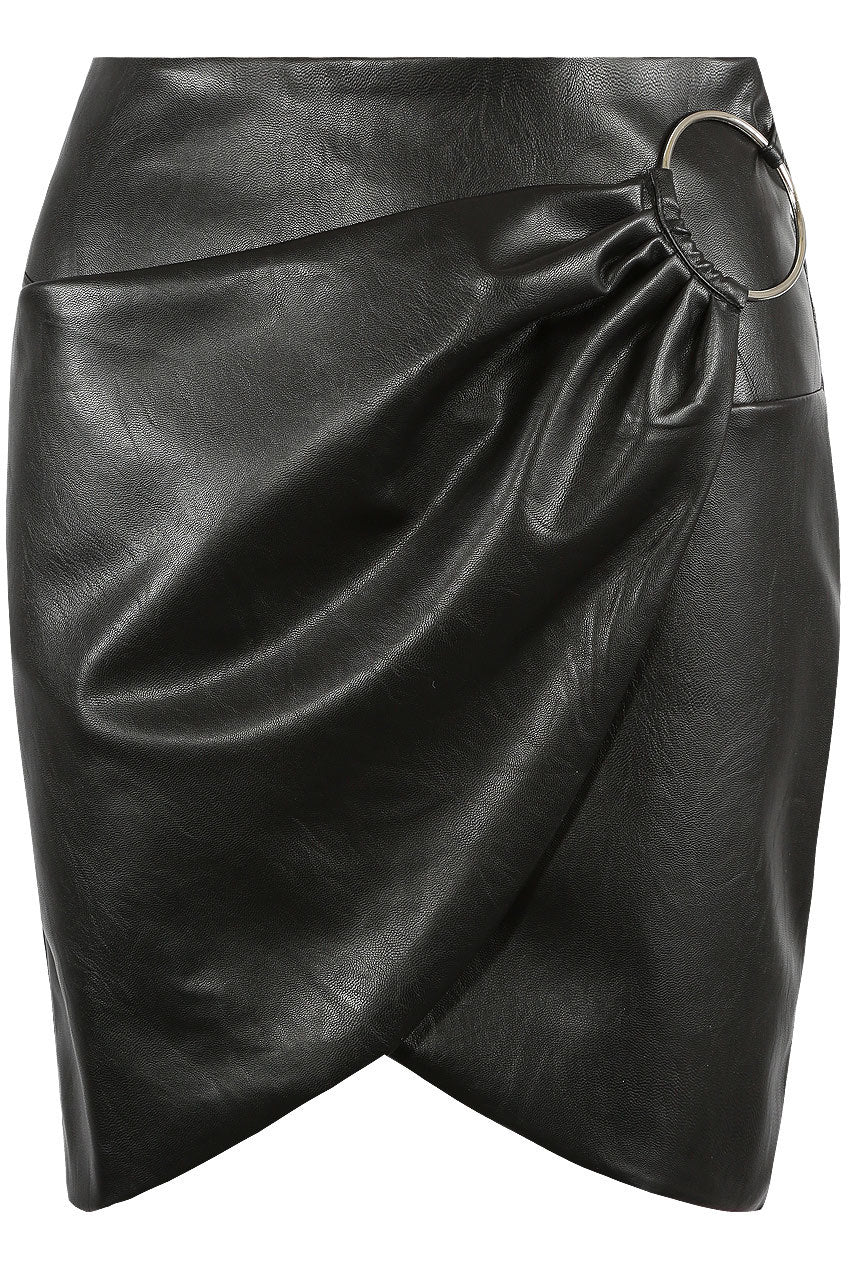 Faux leather overlap o-ring mini skirt - black