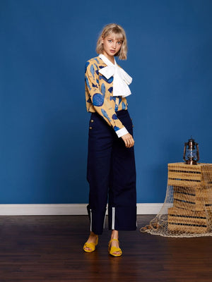FIRST MATE high waist wide leg trousers - navy