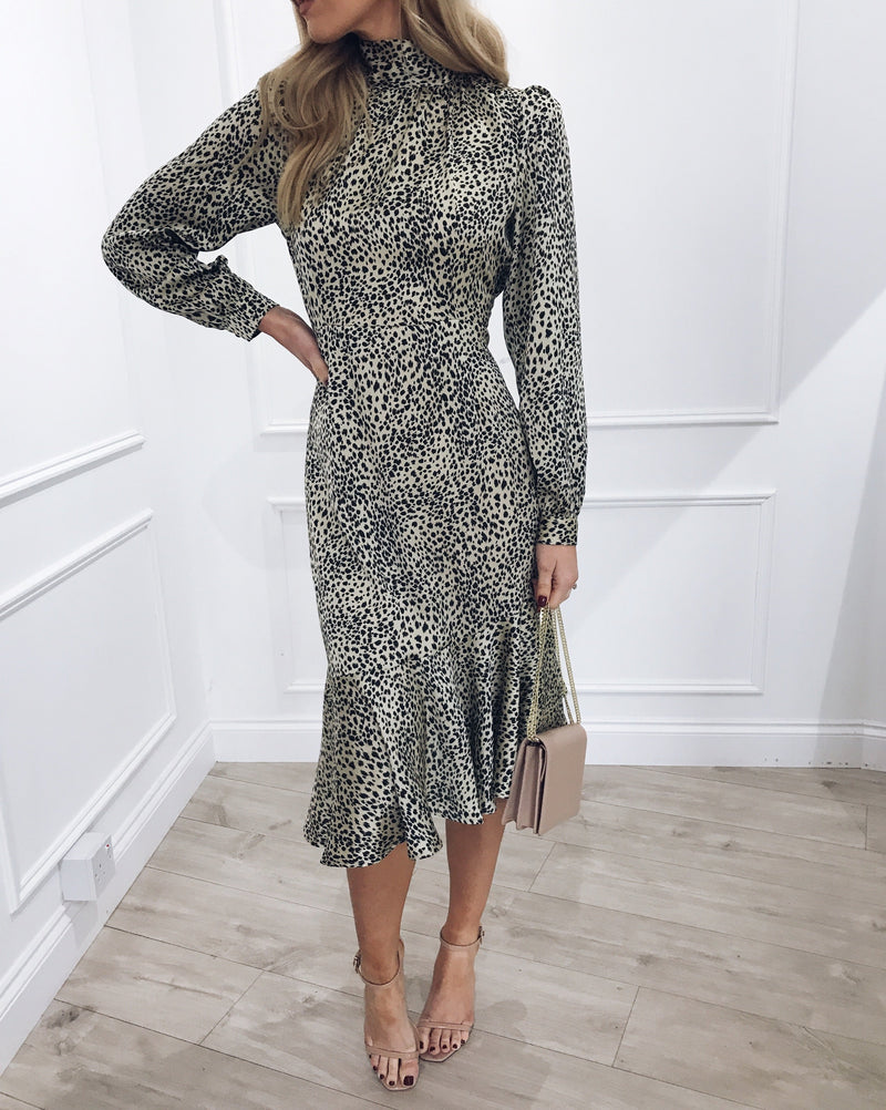 FLORENCE backless leopard print dress
