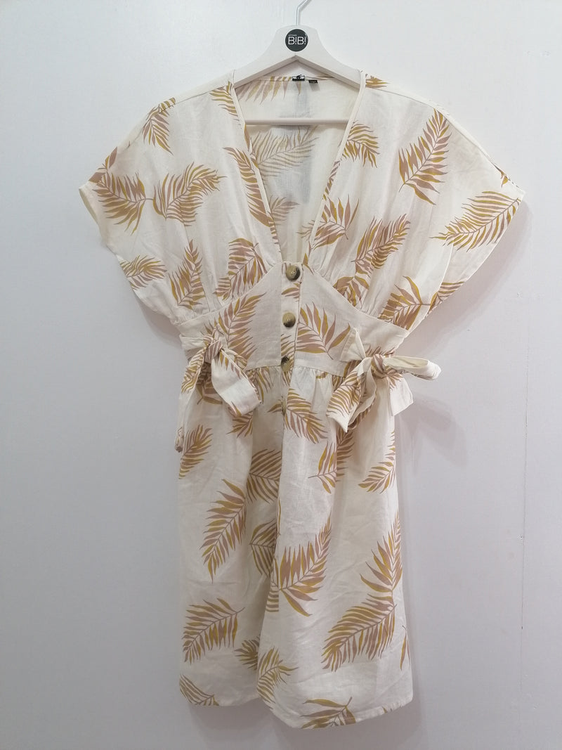 Tropical print button through linen like dress with v-neck.
