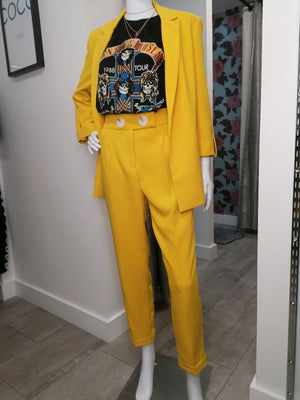 Canary Yellow High waist tailored trousers.